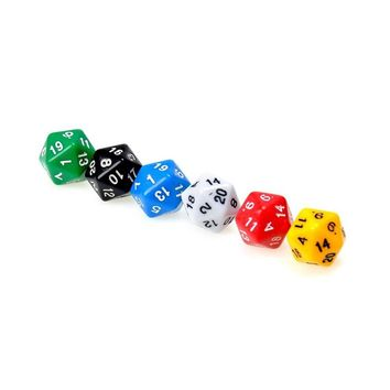 6pcs/set D20 Dice Opaque Twenty Sided Dice For Dungeons & Dragons Multi Color Gaming Resin Polyhedral Games Accessory