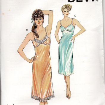 Kwik Sew 80s Sewing Pattern 1554 Negligee Lingerie Teddy Babydoll Slip Nightgown Sexy Pajamas Uncut FF Sizes XS to XL Bust 31 to 45