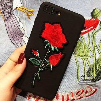 Fashion Rose Embroidery iPhone 6 6s 7 7Plus 8 8plus Phone Cover Case