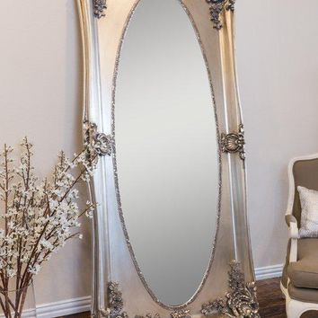 Silver Antique Leaner Full Length Mirror