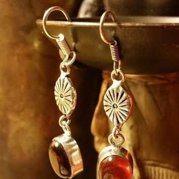 INVENTORY CLEARANCE SALE Garnet Hammered Earrings Tribal Ethnic Gemstone  .925 Sterling  Silver Indian Boho Gypsy Holiday