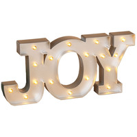 JOY - LED Illuminated Metallic Marquee Word Sign 9-in Christmas Holiday Decor
