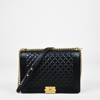 "Chanel Black Quilted Leather 'CC' Large ""Boy"" Flap Shoulder Bag"