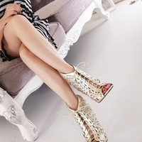 Gold Butterfly Laced Up High Heel Sandals