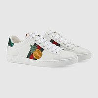 Gucci Ace Pineapple/insect Embroidered Low-top Sneaker