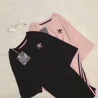 """Adidas"" Women Casual Simple Stripe Short Sleeve Medium Long Section T-shirt Tops"