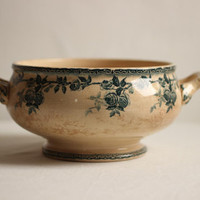 Beautiful French Antique Ironstone Teal Blue Transfer Ware Fruit Bowl With Rose Design  /  Late 1800's By H.B & Cie, Paris / Époque Vintage