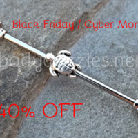 Turtle Tiny Fire Opal Industrial Barbell Black Friday Cyber Monday 14ga Industrial Piercing Body Jewelry Ear Jewelry Double Piercing