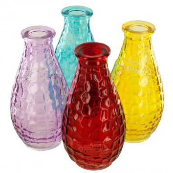 Square Texture Glass Bottle Vase