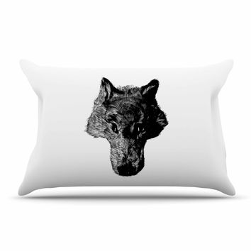 "BarmalisiRTB ""Black Coyote"" Black White Pillow Case"