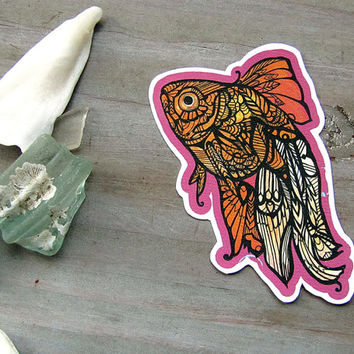 Goldfish Zentangle Decal - Waterproof Sticker