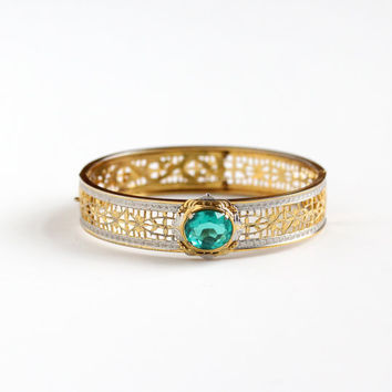 Antique Art Deco Filigree Teal Glass Stone Bracelet - Vintage 1920s 1930s Silver & Gold Tone Wide Hinged Bangle Floral Flower Jewelry