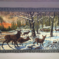 1970s Vintage Deer Winter Rug wall hanging tapestry