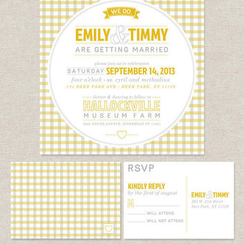 Gingham Wedding Invitation Suite - 100 Quantity - Customized with your information & wedding colors