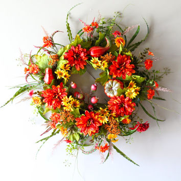 Sale- Fall Wreath, Autumn Wreath, Harvest, Fall Decor, Pumpkin, Grapevine Wreath