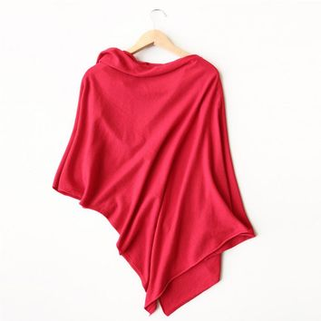 J979 spring autumn fashion ladies irregular length brief solid color casual knitted tops wrap sweater