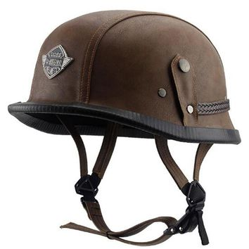 Acorn Style Leather DOT Approved Motorcycle Half Helmet