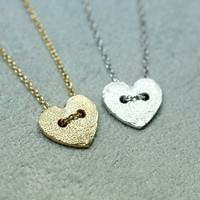 Heart button necklace in gold / silver