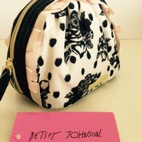 NWT Betsey Johnson Polka Dot Floral Cosmetic Makeup Bag