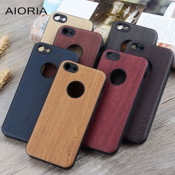 Wooden design case for iPhone 5 5S SE soft TPU silicone material with wood PU leather skin covers for iphone 6 6S coque fundas