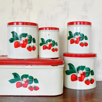 Vintage Metal Bread Box and Canisters, Strawberry Design, Parmeco Metals