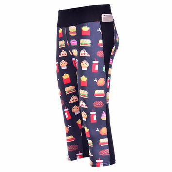 Fast Food Side pocket capri Yoga Pants