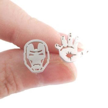 Iron Man Mask and Glove Shaped Stud Earrings in Silver | Super Hero Jewelry