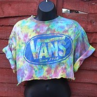 diy cropped acid wash vans  t shirt  grunge  size medium from mysticclothing