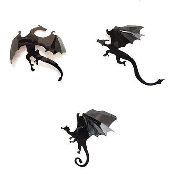 7Pcs / Set Wall Stickers 3D Dragon Game of Thrones Gothic Wallpaper Stranger Things Poster InSpired Decoration F511