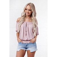 Full Of Secrets Off The Shoulder Top (Mauve)