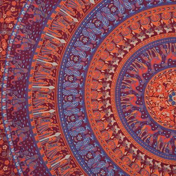 Mandala Wall Hanging, Psychedelic Tapestry, Indian Cotton Bedspread, Camel Print Fabric, Hippie Tapestries, Queen Beach Bedding