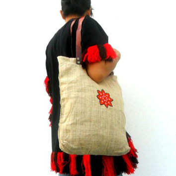 Hemp Tote , Women bag, Hippie Tote, Hemp Bag, Hippie Bag, Boho Tote, Ethnic Tote, Bohemian Tote, Wallet Gift, Leather Tote