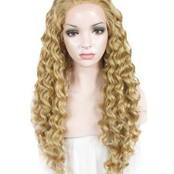 Blonde Gold Curly Long Synthetic Lace Front Wig