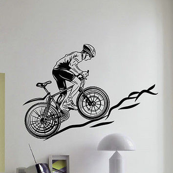 WALL DECAL VINYL STICKER SPORT BOY CYCLING BICYCLE DECOR SB710