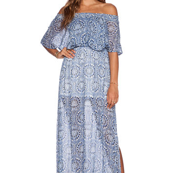 Show Me Your Mumu Hacienda Dress in Cabo Azul Cloud