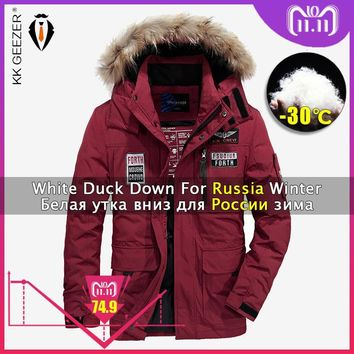Trendy Winter Jacket Down Men Padded Big Size Polyester Hooded Warm Thick Clothing Brands 2018 Coats Parka Light 80% White Duck Jackets AT_94_13