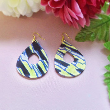 Beautiful Handmade Citrus Yellow & Black Tribal Print Fabric Covered Teardrop Earrings