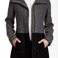 Colorblock Textured Knit Coat