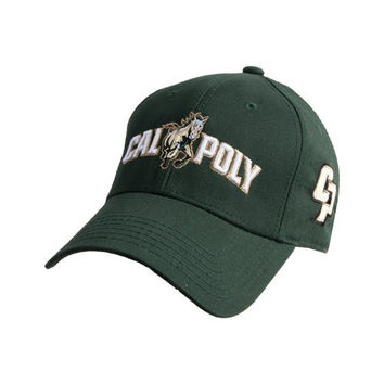 Cal Poly Dk Green Heavyweight Twill Pro Style Hat 'Calpoly w/ Mustang'