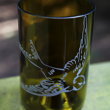 Swallow Bird drinking glass upcycled from wine bottle
