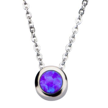 Stainless Steel & Synthetic Purple Opal Necklace