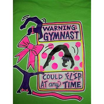 Southern Chics Funny Warning Gymnast Could Flip at any Time Gymnastics Bow Girlie Bright T Shirt