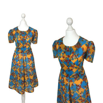 1970s Does 1940s Dress | Vintage Summer Dress | Orange And Blue Check And Floral Dress