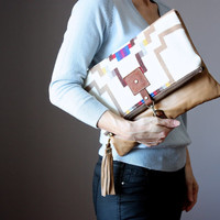 Tan Leather fold over clutch, fold over bag, fold over purse, Pendleton wool and light brown leather clutch with leather charm