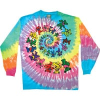 Grateful Dead Men's  Spiral Bears Tie Dye  Long Sleeve Multi Rockabilia