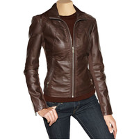 Women's Brown leather jacket with spread collar