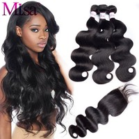 Mi Lisa Body Wave With Closure 3 Bundles Malaysian Hair Weave Bundle Remy Free Part Lace 4 Pc Human Hair Bundle With Closure