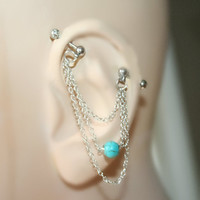 Industrial Barbell Ear Piercing  turquoise howlite