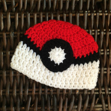 pokeball beanie, pokeball hat, pokemon baby, pokeball replica, pokeball pokemon, crochet preemie hat, crochet baby beanie, little hat