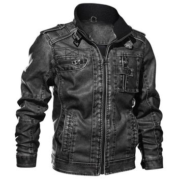 Winter Leather Jacket Men Tactical Bomber Multi Pocket Jacket Warm Military Pilot Coat Thick Motorcycle Jacket 5XL